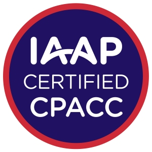 Logo for International Association of Accessibility Professionals (IAAP), Member of IAAP and Certified Professional of Accessibility Core Competencies.
